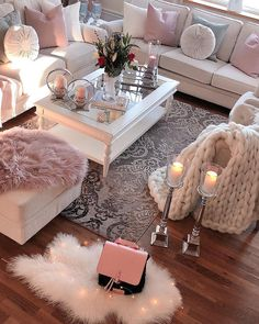 Wood Floors, White Furniture, and Lots of Pink. Oh yes.