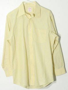 Brooks Brothers Yellow with Blue Stripped Button Up Dress Shirt   #brooksbrothers #menswear #mensclothing #strippedshirt #yellowshirt