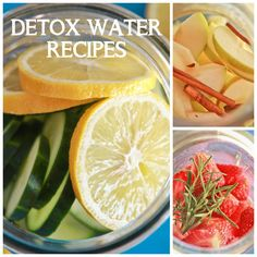 detox water recipes- cucumber lemon mint, strawberry rosemary and apple cinnamon