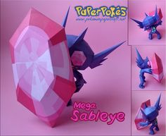 This pokemon papercraft is a Mega Sableye, a dual-type Dark/Ghost Pokémon, based on the anime / game Pokemon, the paper model was created by Olber. As Mega Ghost Pokemon, Pokemon Craft, Pokemon Party, My Pokemon, Pokemon Stuff, Sableye Pokemon, Charizard, Papercraft Pokemon, Paper Art