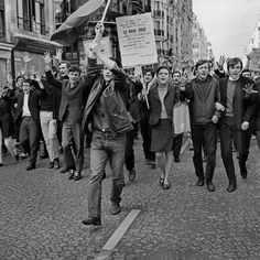 Figure 4: Students and workers demonstrating in the 3rd arrondissement, Rue Beaubourg. Monday, May 13th 1968. Students and workers demonstra...