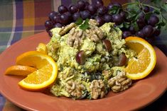 Curry Chicken Salad with Walnuts - A full-flavored salad blended with curry, cumin, Dijon mustard and pepper cultivates a slightly fiery taste. Combine the sweetness of the grapes with the crunchy texture of walnuts for a unique combination of flavors for your palate. Enjoy as a perfect summery fare for a picnic lunch or savory dinner.  This recipe courtesy of Chef Sherri Thrower of Fiesta Market for the California Walnut Board.
