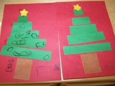 Creating a Christmas tree using rectangle strips of paper.  Background could be painted with blue finger paint and swirls of white!