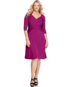 Elementz Plus Size Dress B-Slim Three Quarter Sleeve Cross Front.jpg