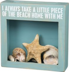 """A perfect gift for the beach comber, this shadow box holds their favorite beach finds including sea shells, sea glass, sponges, shark's teeth, driftwood pieces and more! """"I always take a little piece"""
