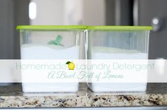 "All Natural Homemade Laundry Detergent ""Recipe"" that will last FOREVER!  A Bowl Full of Lemons"
