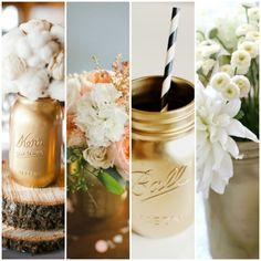 I'm thinking these would look awesome! Gold mason jars.