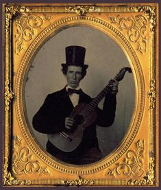 A glass-negative ambrotype, c. 1850s, of a musician holding a Martin guitar.  Courtesy C.F. Martin & Co.