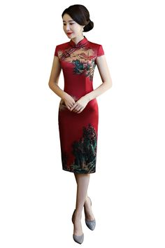 ee2f52fc4f2b2 Shanghai Story China Qipao Knee Length Chinese Dress chinese style dress  Chinese Oriental dress Vintage cheongsam