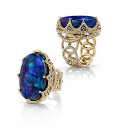Erica Courtney | 18k Gold Blue Opal and Diamond Ring | www.mccaskillandcompany.com