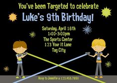 Awesome Laser Tag Birthday Party Invitations Ideas  Download this invitation for FREE at http://www.bagvania.com/laser-tag-birthday-party-invitations.html