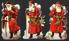 3 uralte geprägte Weihnachtsmann Oblaten 12 cm - SANTA DIE CUT SCRAPS