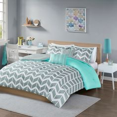 Shop a great selection of Intelligent Design Nadia Comforter Set, Full/Queen, Teal. Find new offer and Similar products for Intelligent Design Nadia Comforter Set, Full/Queen, Teal. Teal Comforter, Queen Comforter Sets, Chevron Bedding, Grey And Teal Bedding, Queen Duvet, Teal Bedding Sets, Teen Bedding, Grey Teal Bedrooms, Yellow Bedding