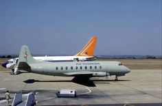 An Air Rhodesia Viscount in anti heat-seeking missile paint - this became necessary after the two Viscounts had been shot down by terrorists with the loss of civilian life and the lives of the crew