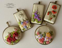 Embroidered pendants. http://www.facebook.com/HummingNeedles/photos/pb.419036011518717.-2207520000.1448191086./926866770735636/?type=3&theater