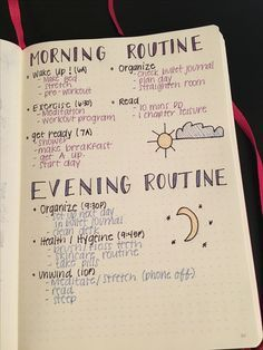 Bullet journal morning and evening routine