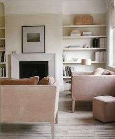 Blush inspired living room via Atlanta Bartlett's At Home With White