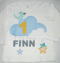 Langarmshirts - Geburtstagsshirt- Wolke und der kleine Spatz- - ein Designerstück von wohnzwerg bei DaWanda
