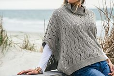 Stone Point is knit flat in two identical pieces. Once complete, the front and back are joined at the shoulders using a 3-needle bind off and the neckband is worked in the round. The garment is easily customizable; you may lengthen the piece by working additional repeats of the Flame Chevron Lace. At the specified gauge, each skein of yarn will work approximately 1.5 repeats (36 rows). You can add additional repeats for width by adding a multiple of 7 sts + 4 sts to the cast on number. Be…