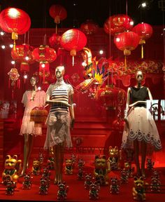 https://flic.kr/p/qZQd8s | Chinese New Year at Saks 6 | A window display at the Saks Fifth Avenue flagship store for Chinese New Year, the year of the sheep, not that any of these windows have sheep in them. The lucky cats all wave a paw in unison, and the red was a brighter shade in person.