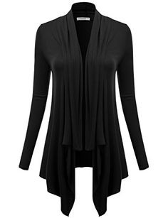J.TOMSON Womens Draped Open Front Cardigan BLACK XL