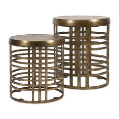 Lawrence Aluminum Tables - Circles in the sand, or wherever you happen to set this pair of 100 percent aluminum tables in an airy pattern and an aged bronze finish.