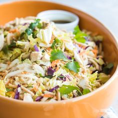 An easy recipe for Chinese Chicken Salad that's as delicious as it is healthy. Say hello to a rainbow of crunchy veggies, chicken, and noodles! Chicken Salad Recipes, Healthy Salad Recipes, Chicken Salads, Cooking Chicken To Shred, How To Cook Chicken, Soup And Salad, Pasta Salad, Asian Recipes, Ethnic Recipes