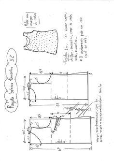 Blusa Regata simples com recorte - DIY - molde, corte e costura - Marlene Mukai by amandawest Mccalls Patterns, Dress Sewing Patterns, Sewing Patterns Free, Clothing Patterns, Blouse Patterns, Sewing Hacks, Sewing Projects, Spanish Pattern, Sewing Blouses