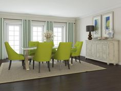 Fake Wood Flooring Types For Warm Dining Room Decor With Elegant Curtains And Green Sofa Chairs Dining Room Furniture Sets, Farmhouse Dining Room, Modern Dining Room Tables, Dining Room Table, Upholstered Dining Chairs, Home Decor, Farmhouse Dining Rooms Decor, Contemporary Dining Room Furniture, Green Dining Room
