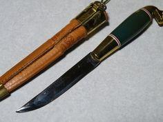 Kauhava Gold/Green Horse Head Handled Mini Puukko Knife & Gold Leather Sheath