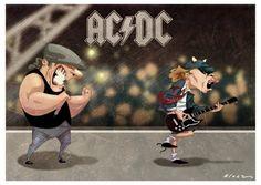 Caricatura Brian Johnson y Angus Young Alice Cooper, Judas Priest, Iron Maiden, Ac Dc, Elvis Presley, Metallica, Brian Johnson, Angus Young, Black Sabbath