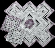 Rose Doily in Hardanger Embroidery and Cross Stitch
