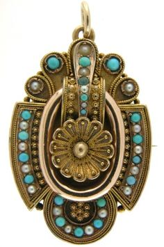 Victorian buckle style locket set with turquoise and seed pearls.