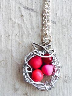 Bird best necklace silver pink