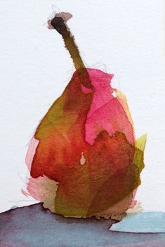 Forelle Pear original still life watercolor painting Angela Moulton ACEO Art #Impressionism