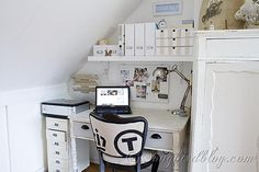 home-office-Reveal-Songbird......love the vertical striped painted wooden Ikea unit
