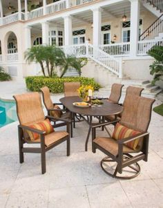 Spring is almost here and it's time for the Hampton Sling patio set! Outdoor Furniture Sets, Outdoor Decor, Outdoor Entertaining, The Hamptons, Design, Home Decor, Sunlight, Porch, Deck