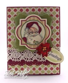 Santa card using JustRite Christmas Labels Twenty Two cling set with JustRite exclusive coordinating Vintage Labels Three Dies & Spellbinders Labels Sixteen by Sheri Holt