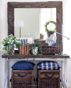 rustic over sized mirror, country meets modern table