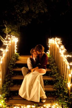 Wedding kiss on the stairs. Bliss.