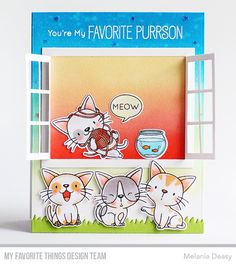 June My Favorite Things & Friends You're My Favorite, My Favorite Things, Scrapbook Cards, Scrapbooking, Mft Stamps, Cat Cards, Digital Stamps, Clear Stamps, Pets