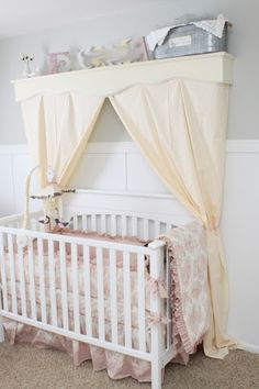 Canopy over crib on pinterest cribs nurseries and for Canopy above crib