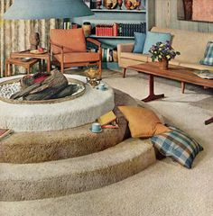 Mid Mod carpeted indoor fire pit!