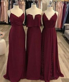 Burgundy Mismatched Cheap Chiffon Long Wedding Party Bridesmaid Dresses, Magical Mermaid V Neck High Split Cheap Bridesmaid Dresses Chiffon Bridesmaid Dress 2019 Unique Bridesmaid Dresses, Prom Party Dresses, Dress Prom, Burgundy Brides Maid Dresses, Burgundy Dress, Bridesmaid Outfit, Halloween Bridesmaid Dress, Christmas Bridesmaid Dresses, Cranberry Bridesmaid Dresses