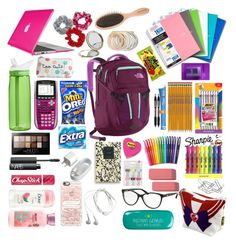 """""""School Bag"""" by cheshire2290 ❤ liked on Polyvore featuring The North Face, Speck, CamelBak, BIC, Chapstick, NARS Cosmetics, Maybelline, Paper Mate, Casetify and Samsung"""