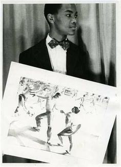 1945 photograph of Mozelle Thompson, as a senior at Peabody High School, holding his Scholastic Award-winning watercolor at Carnegie Museum of Art.