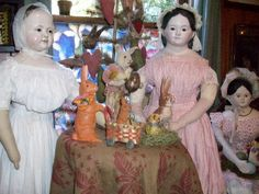 Early Papier mache Dolls Easter