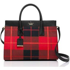 Kate Spade Cameron Street Plaid Candace Satchel (4 655 ZAR) ❤ liked on Polyvore featuring bags, handbags, satchels, satchel bags, kate spade, red satchel, satchel handbags and kate spade purses