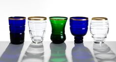 Saint-Louis theoreme tumblers gold clear green blue crystal tableware harlequin london