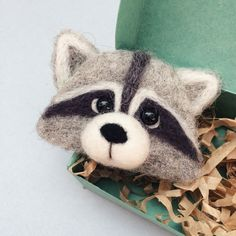 Needle felted raccoon broch by KuzmaWool on Etsy